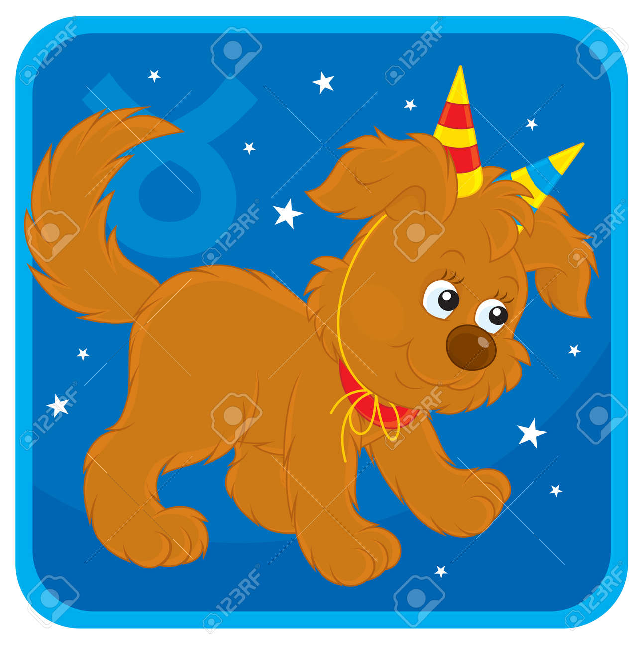 Zodiac sign of Taurus as a pup with toy horns Stock Vector - 17466015