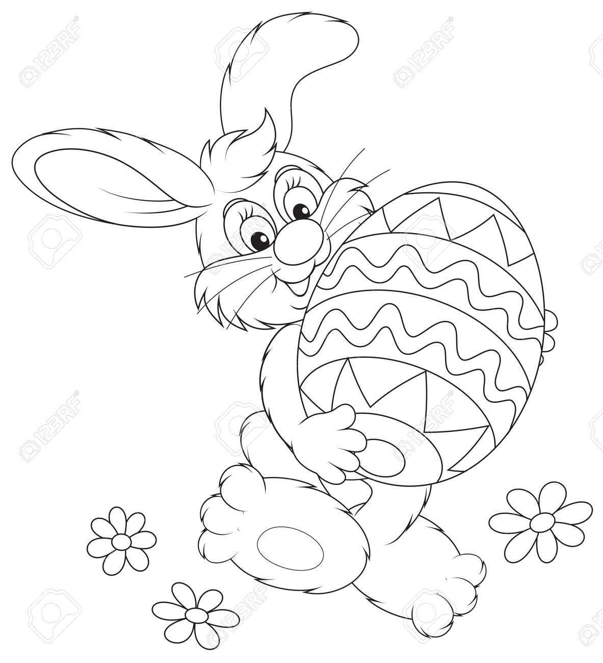 easter bunny carrying a big painted easter egg royalty free