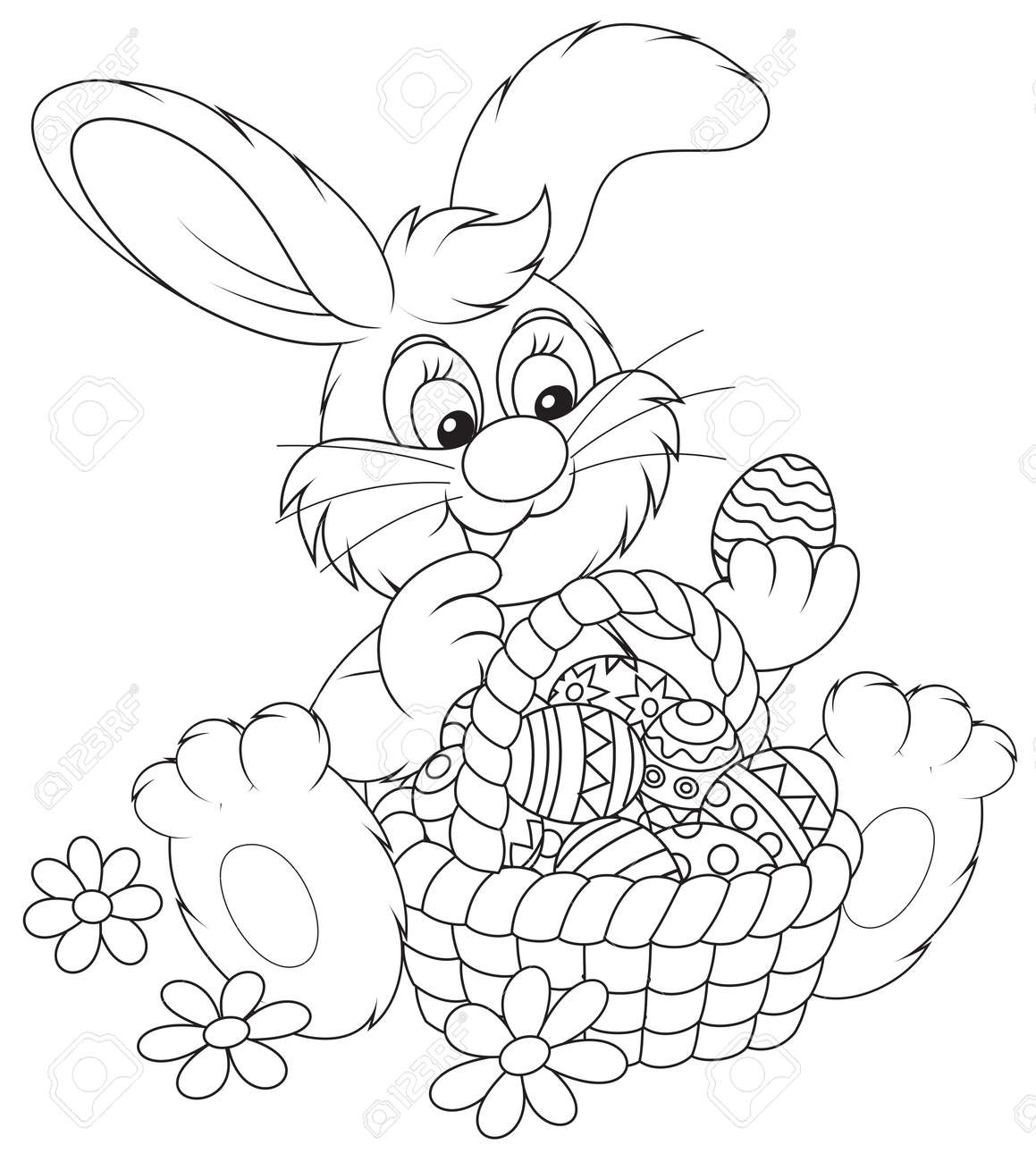 401 easter bunny coloring page cliparts stock vector and royalty