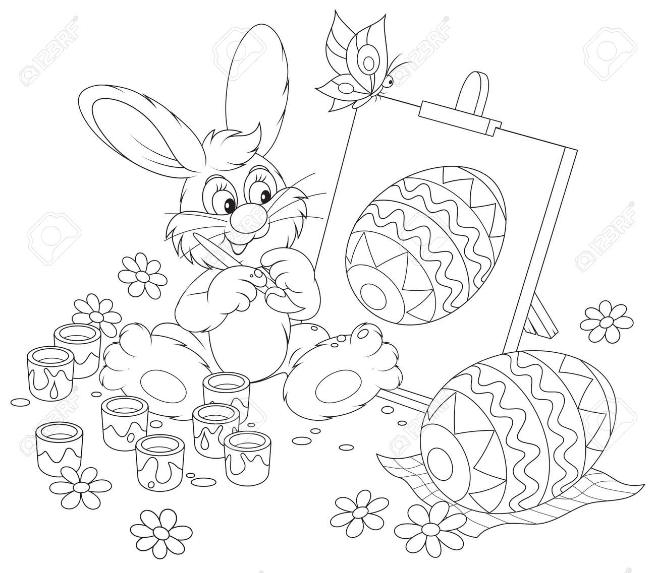 easter bunny drawing a decorated easter egg royalty free cliparts