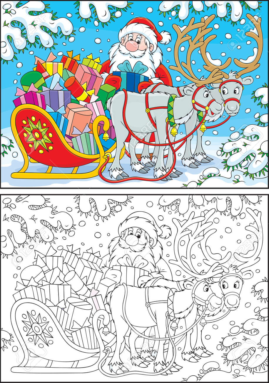 Santa Claus loads his sleigh with Christmas gifts Stock Vector - 22344133