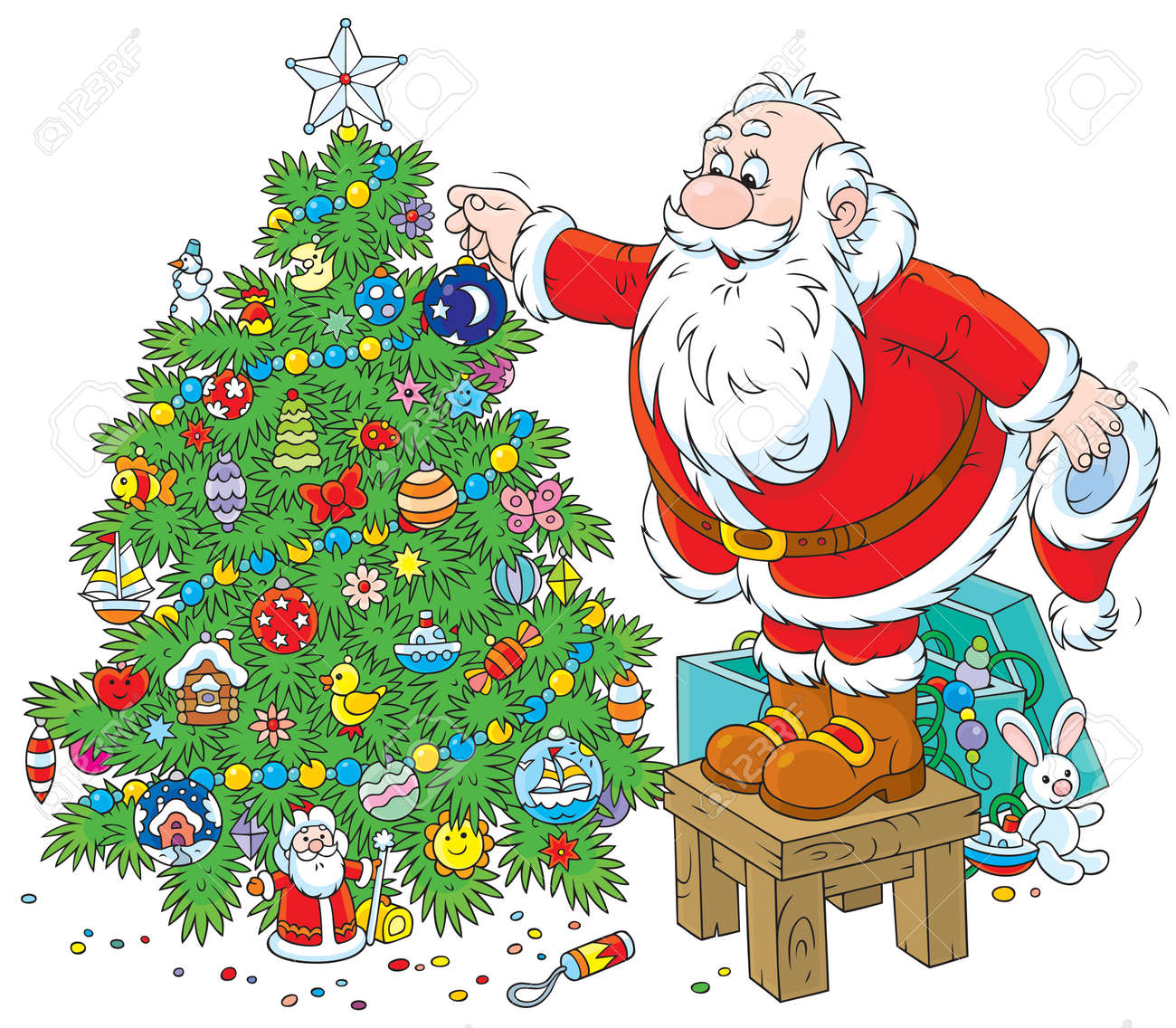 Father Christmas Images Free.Father Christmas Decorates A Fir To Holiday