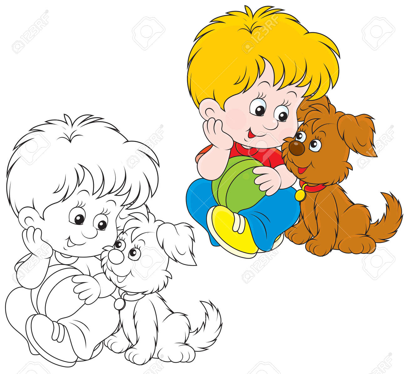 little boy sitting with his small brown pup royalty free cliparts