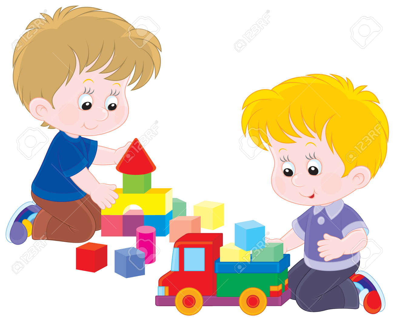Little Boys Playing With A Toy Truck And Bricks Royalty Free