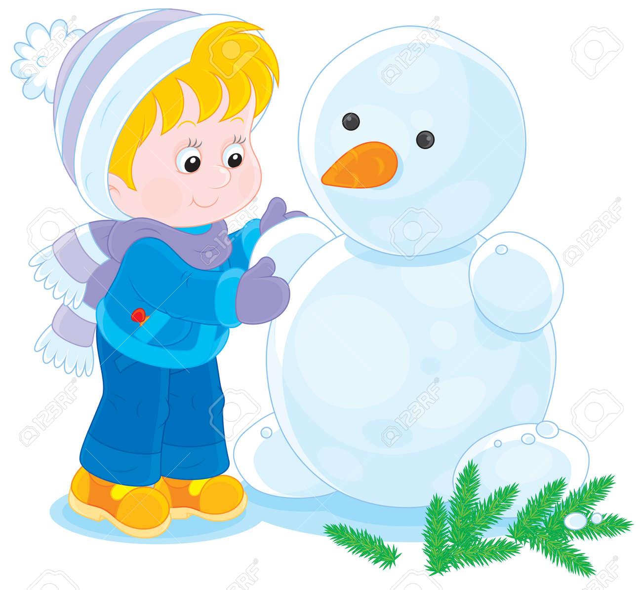 Niño O Niña Haciendo Un Muñeco De Nieve Divertido Ilustraciones Vectoriales Clip Art Vectorizado Libre De Derechos Image 24259886