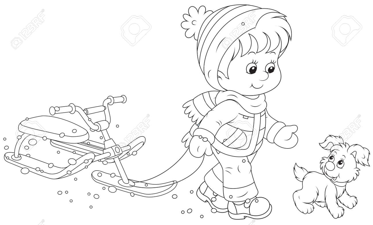 Child walking with a snow scooter Stock Vector - 24560318