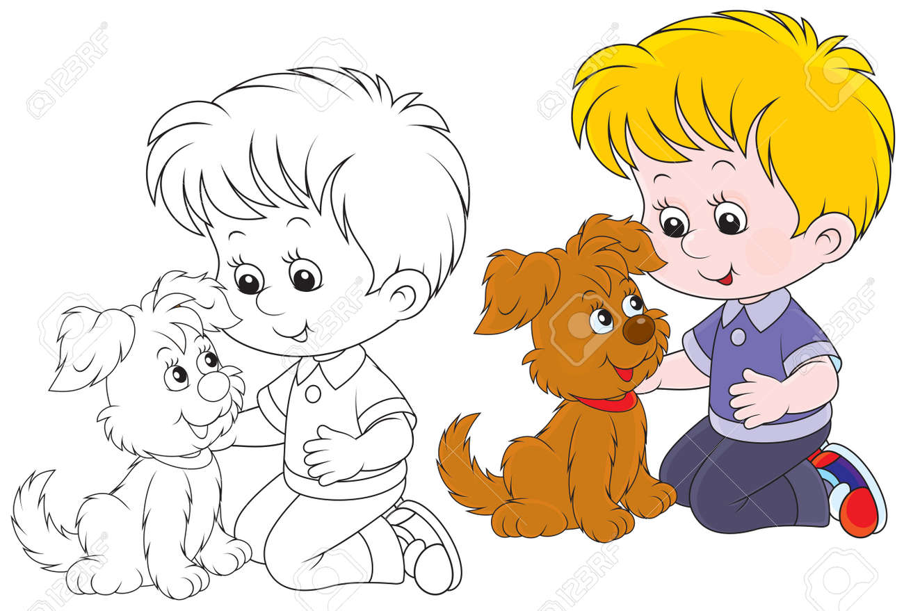 Little boy playing with his brown puppy Stock Vector - 24664244