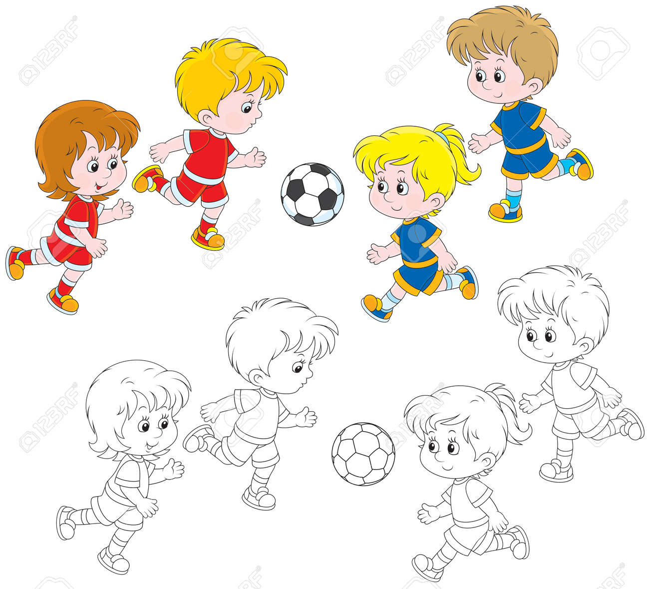 Children playing football Stock Vector - 24680741
