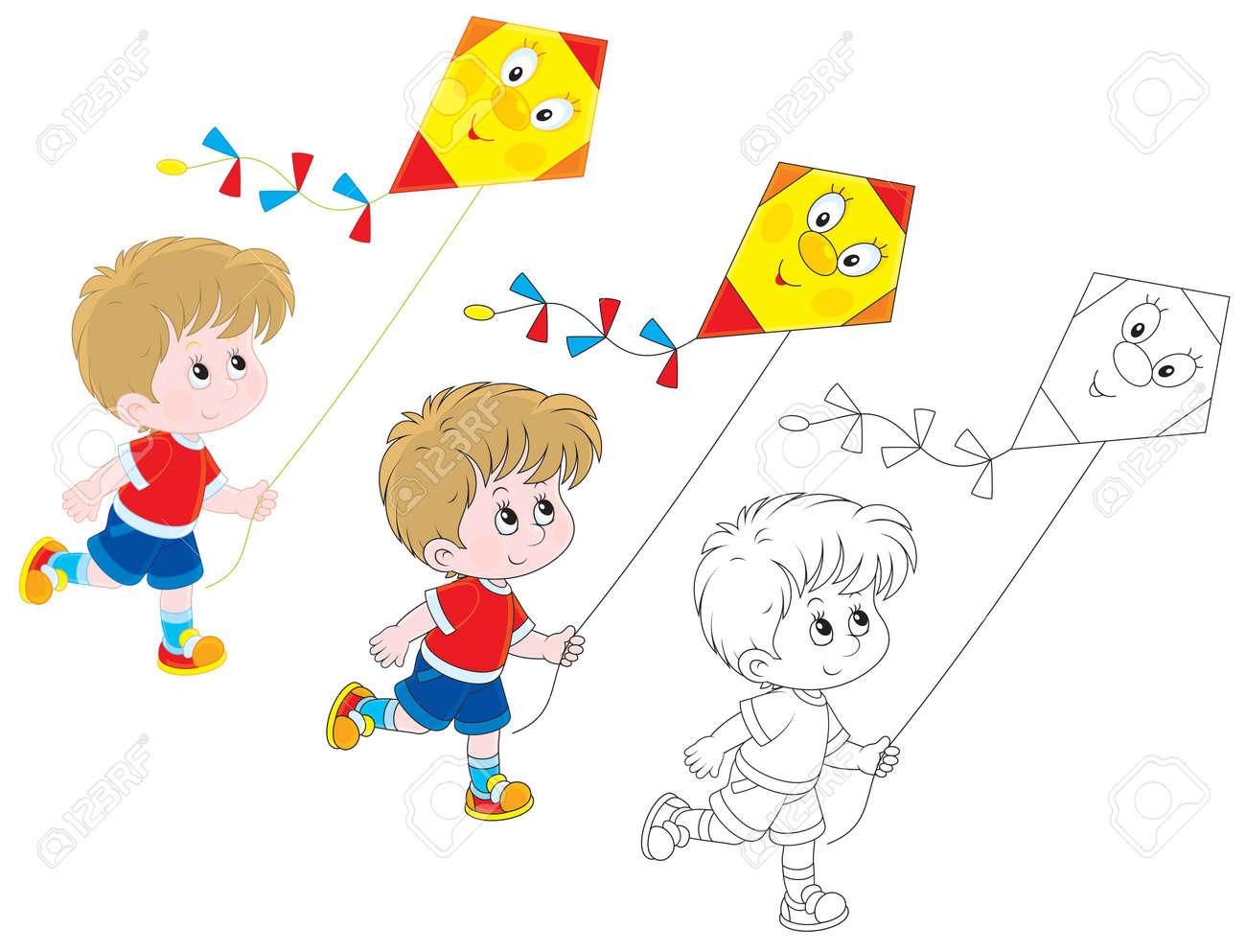 Niño Volando Una Cometa Divertida Ilustraciones Vectoriales, Clip ...