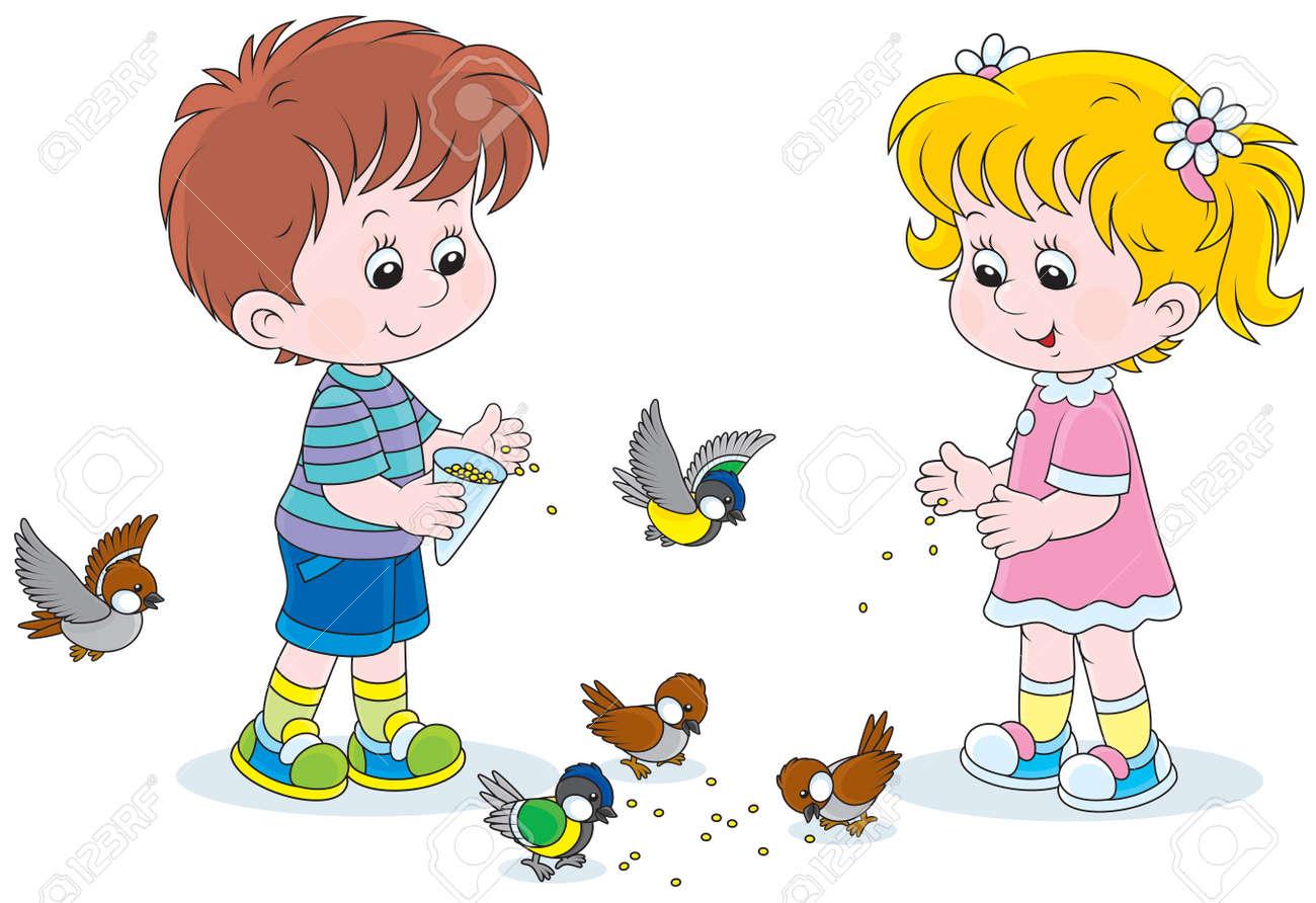 Boy and girl feeding birds - 25441081