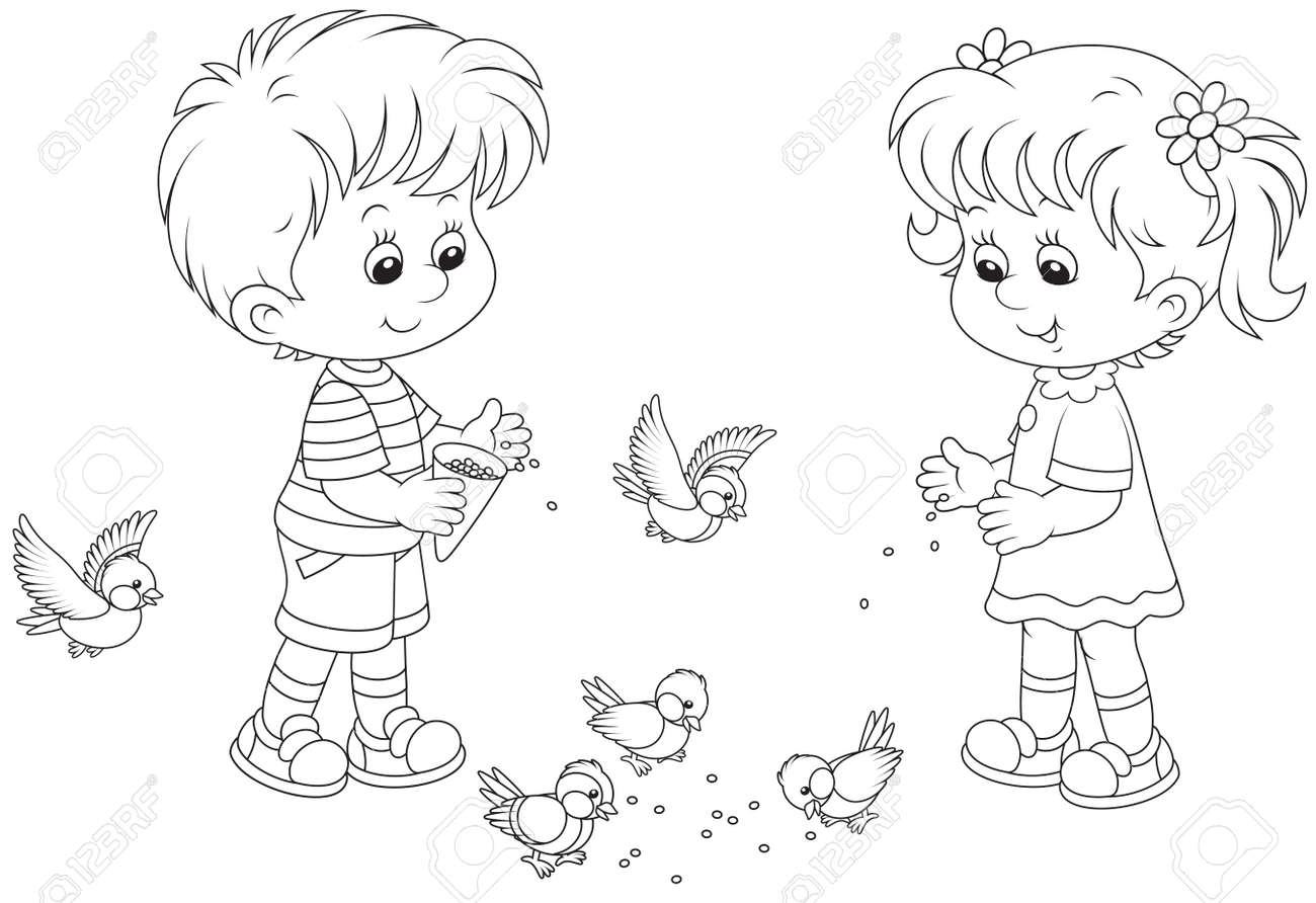 boy and feed sparrows and titmice royalty free cliparts