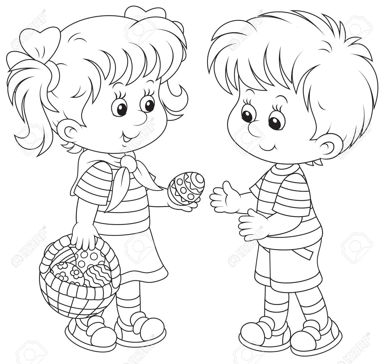 Little girl and boy on Easter Day - 25633609