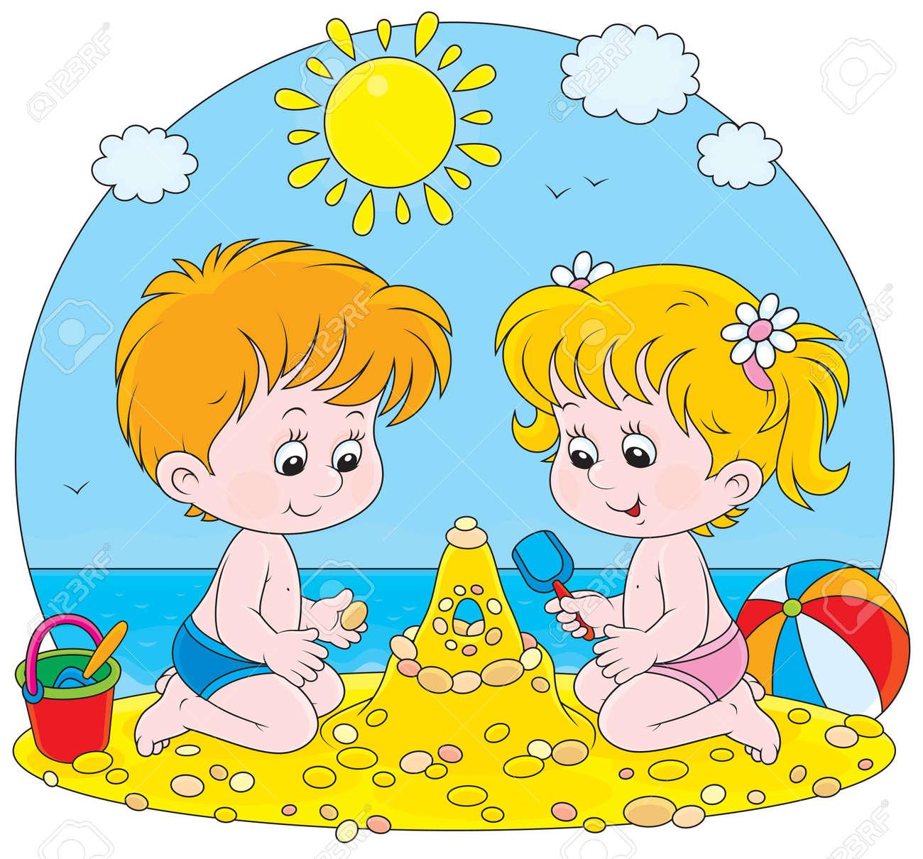 Sandburg clipart  Mädchen Und Junge Baut Eine Sandburg Am Strand Lizenzfrei Nutzbare ...