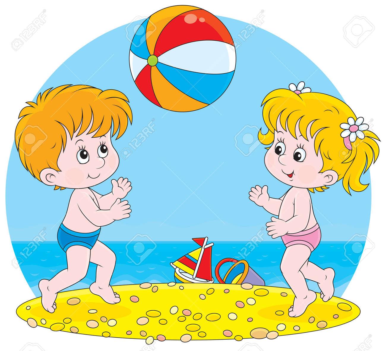Niña Y Niño Jugando Con Una Pelota En Una Playa Ilustraciones