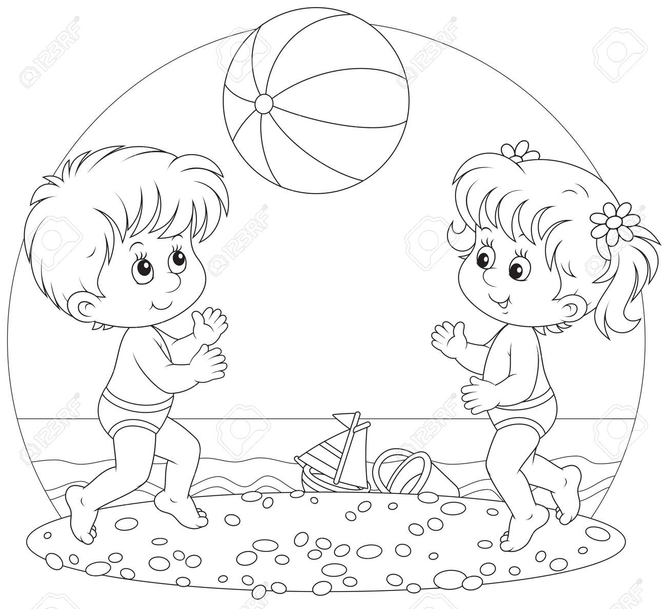Kids At The Beach Clipart Black And White Children Play A Ball On Stock