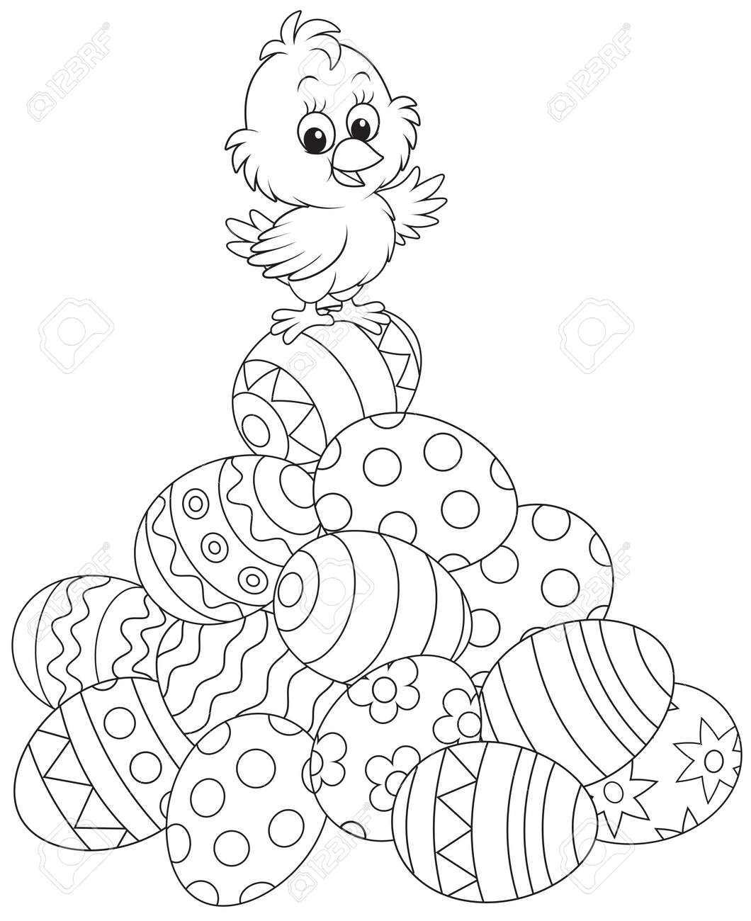 Easter Chick on top of a pile of painted eggs - 25998085