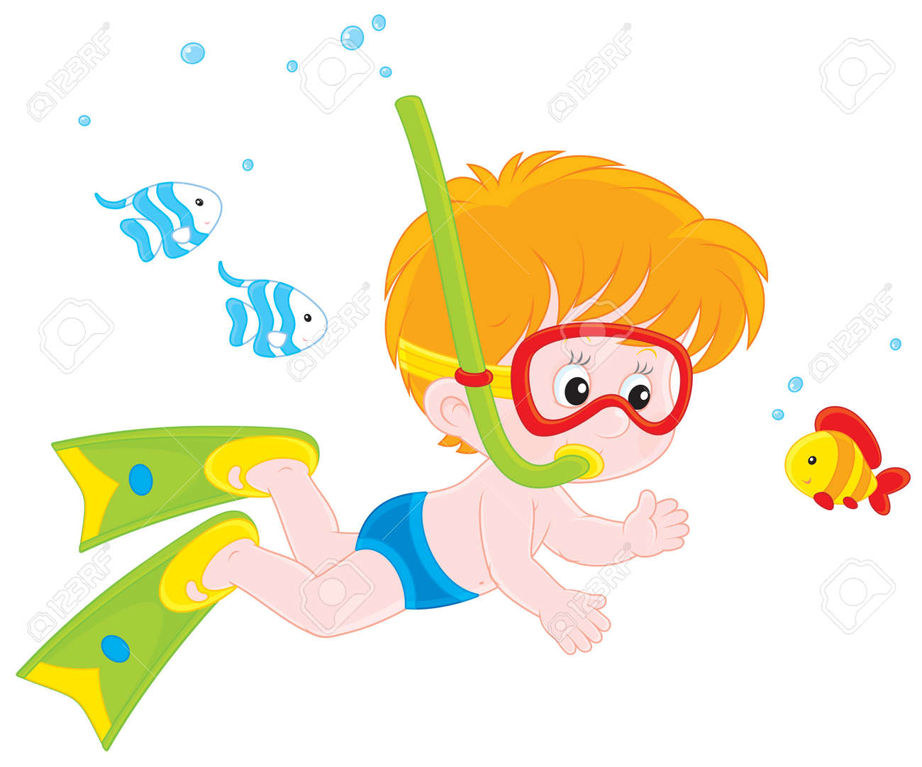Boy diving among small fishes Stock Vector - 26024357