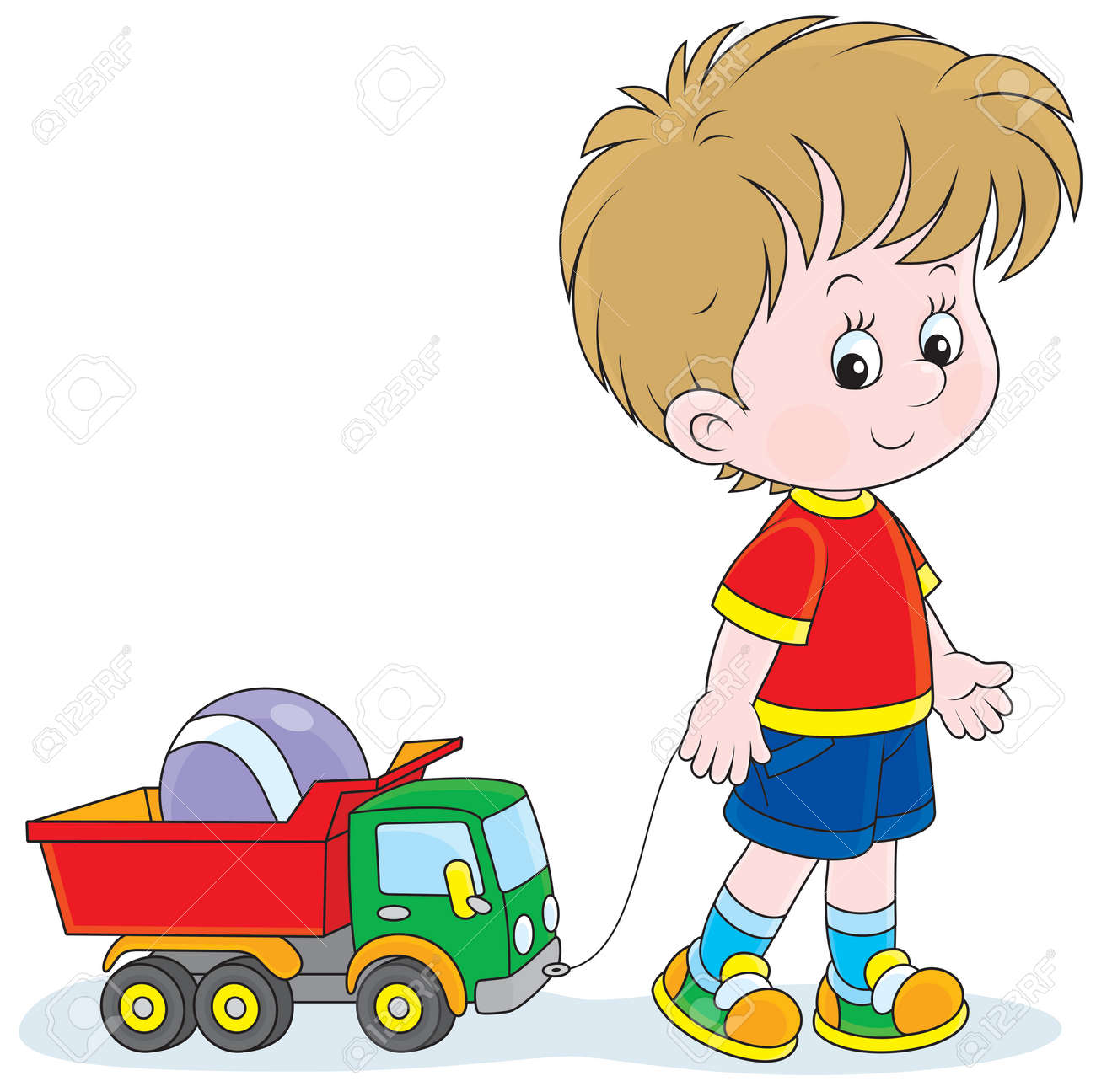 Little Boy Pulling A Toy Truck With A Ball Royalty Free Cliparts
