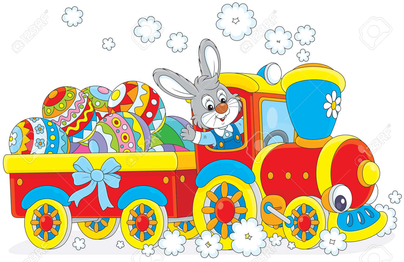 easter rabbit on a toy train carries decorated eggs royalty free