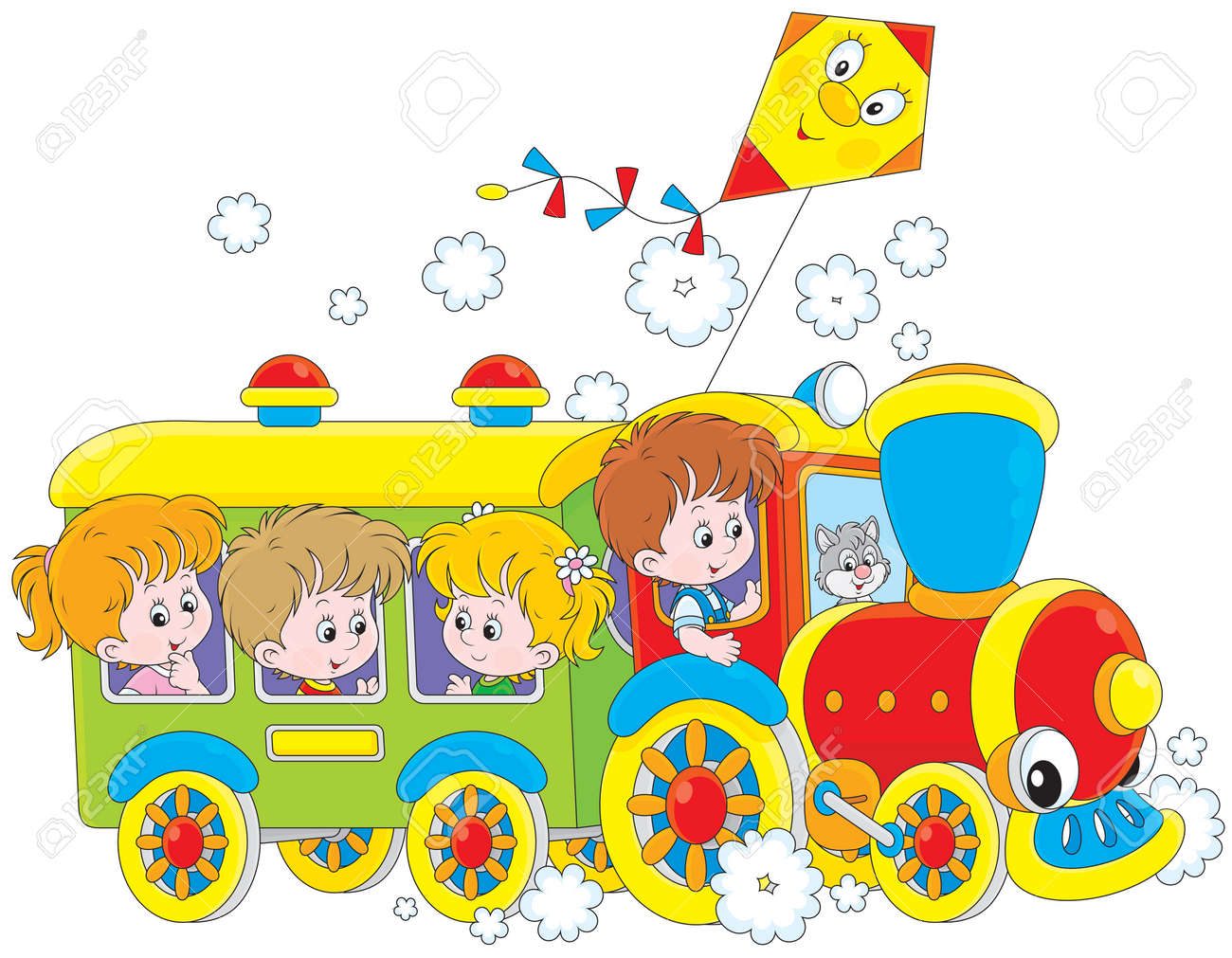children travel by train royalty free cliparts vectors and stock