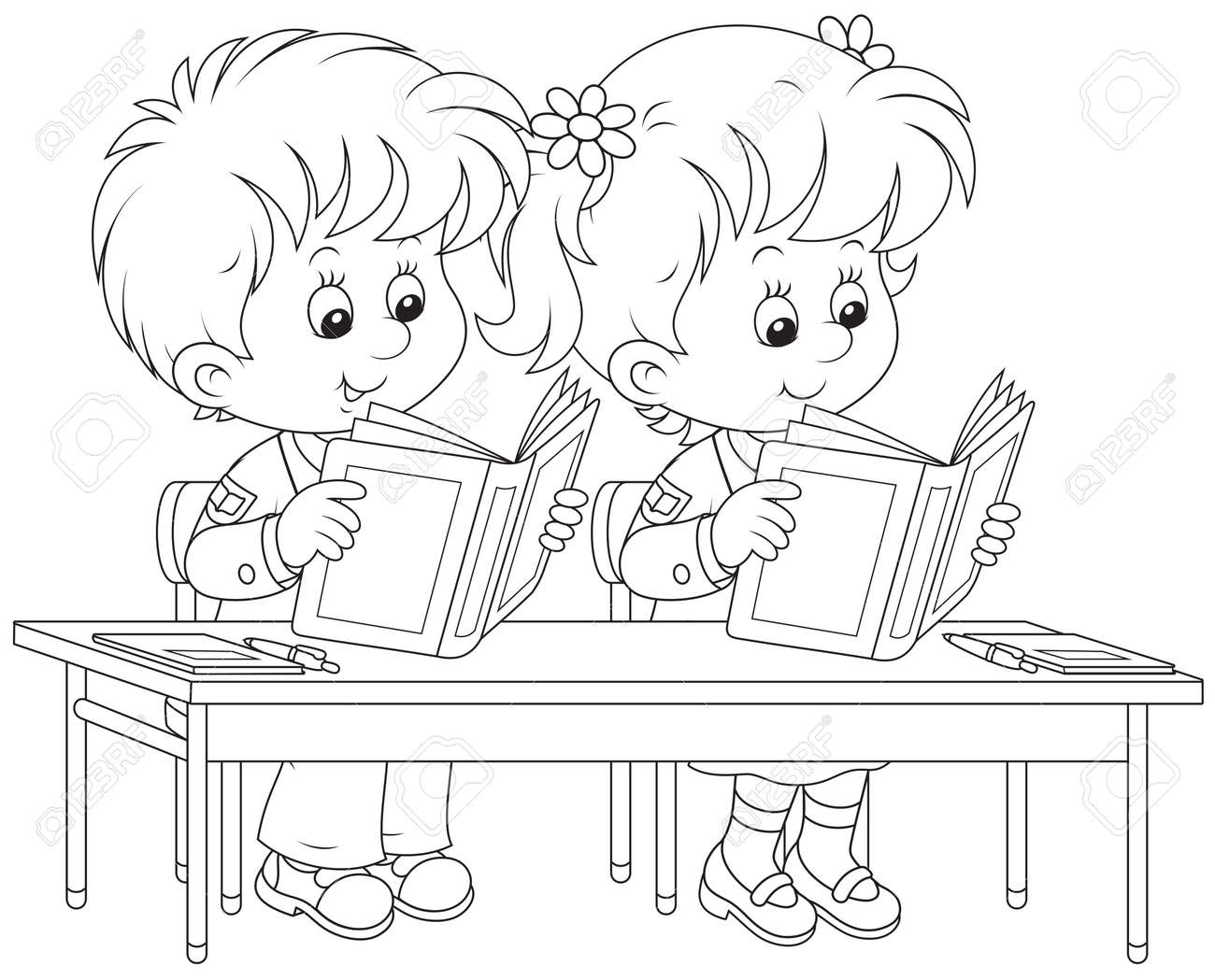 Free coloring pages for school kids - School Children Read At A Lesson Stock Vector 27710973