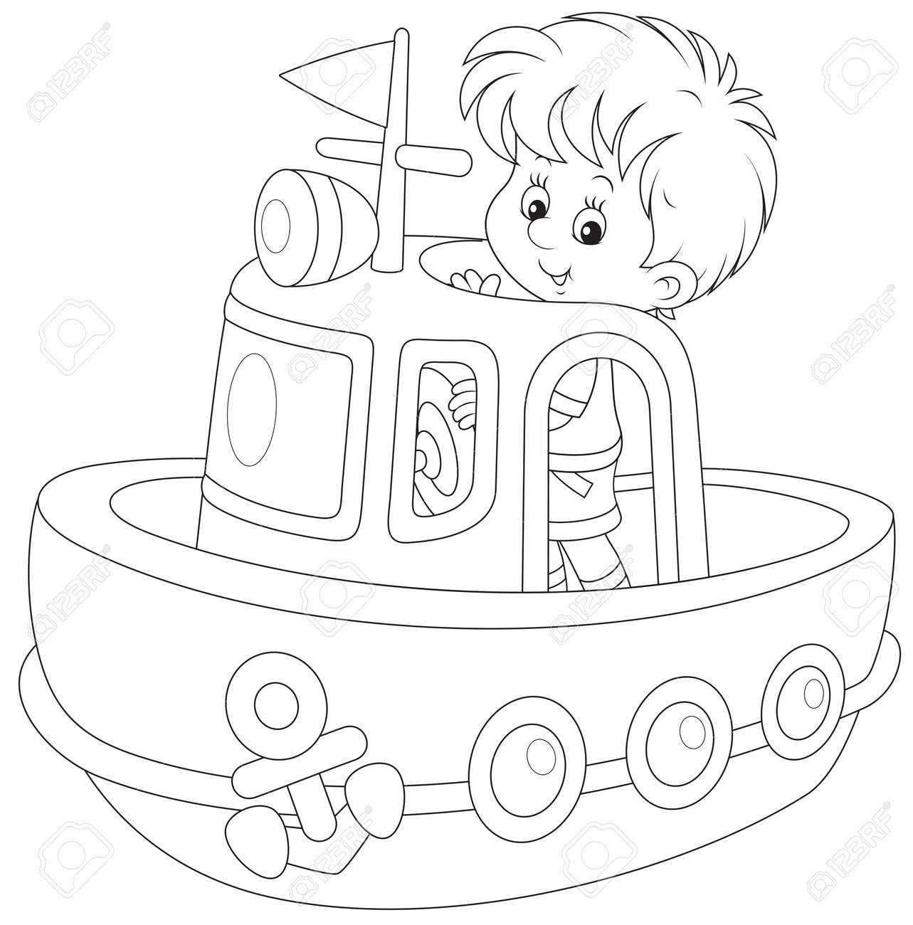 Little boy playing on board of a big toy ship - 29029854