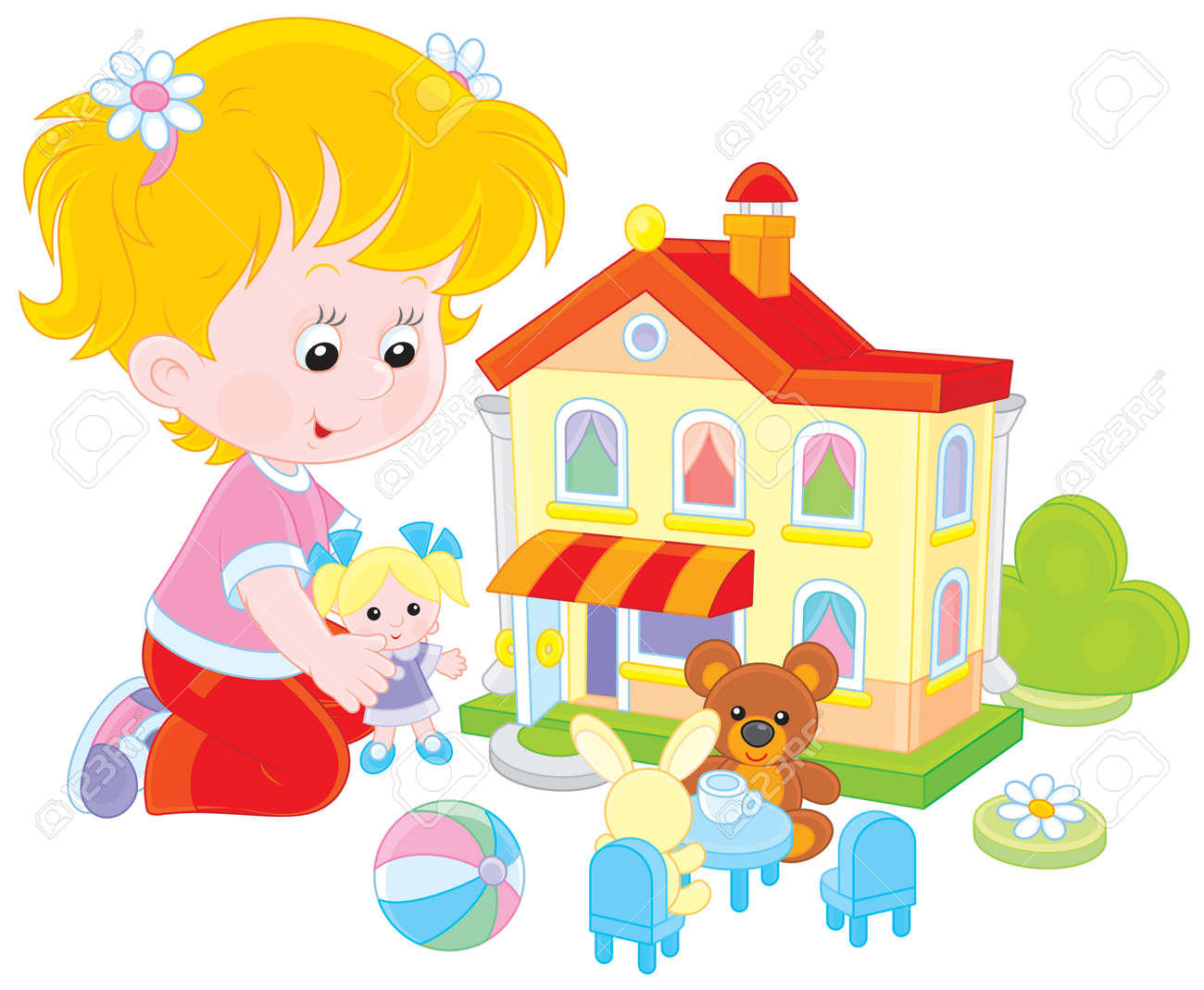Girl Playing With A Doll And Toy House Royalty Free Cliparts
