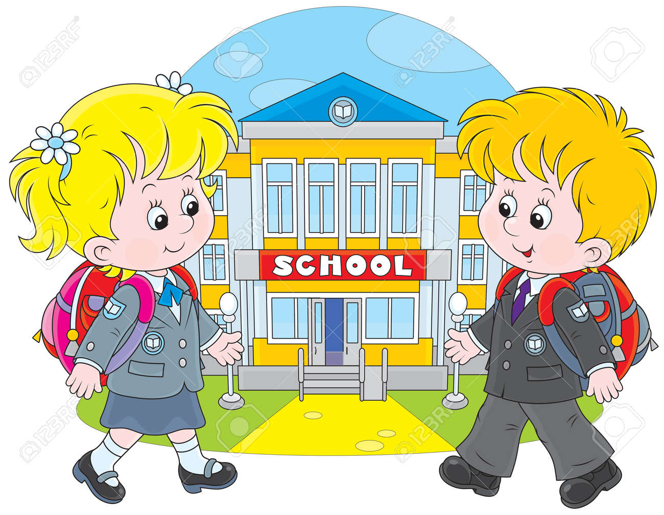 schoolgirl and schoolboy walking to school royalty free cliparts rh 123rf com going back to school clipart boy going to school clipart
