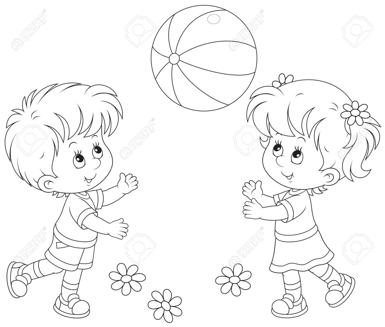 Children Playing Line Drawing