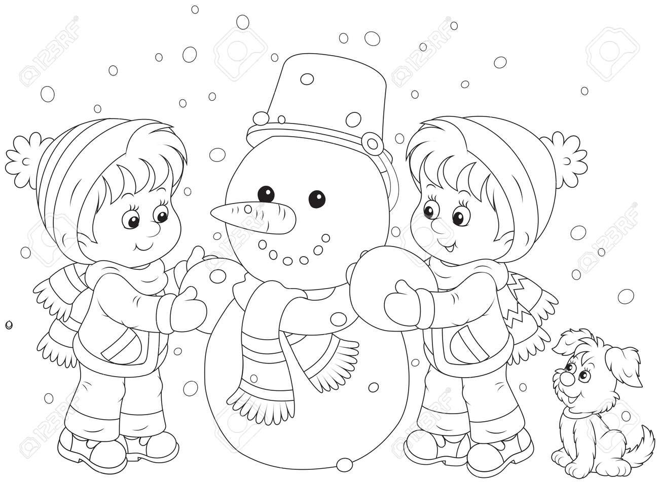 Children making a snowman - 30174486