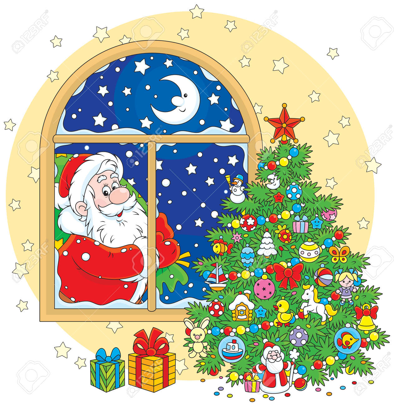 Christmas Tree And Santa Claus With His Gift Bag Stock Vector