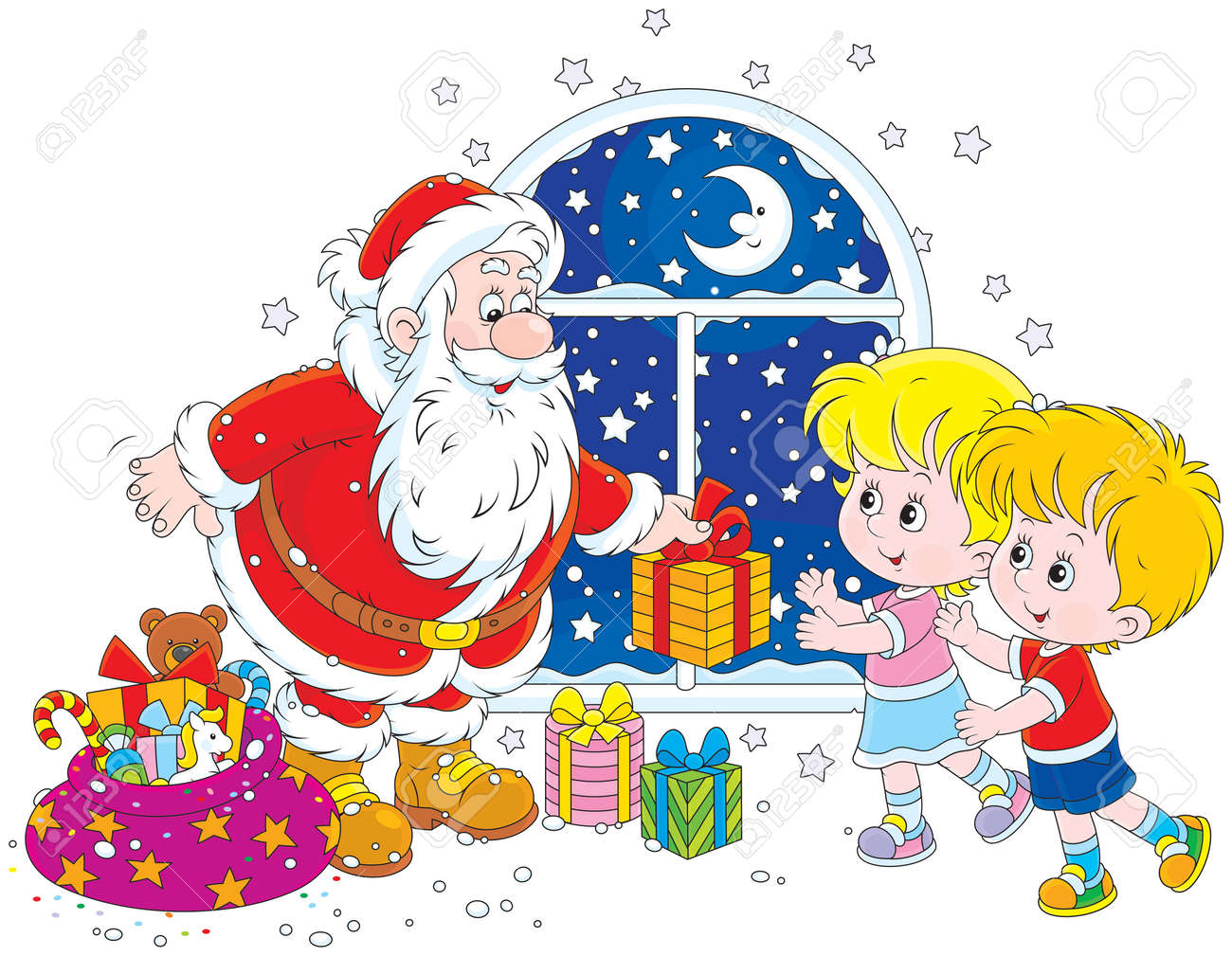 Santa claus giving christmas gifts to children royalty free cliparts santa claus giving christmas gifts to children stock vector 33520531 negle Images