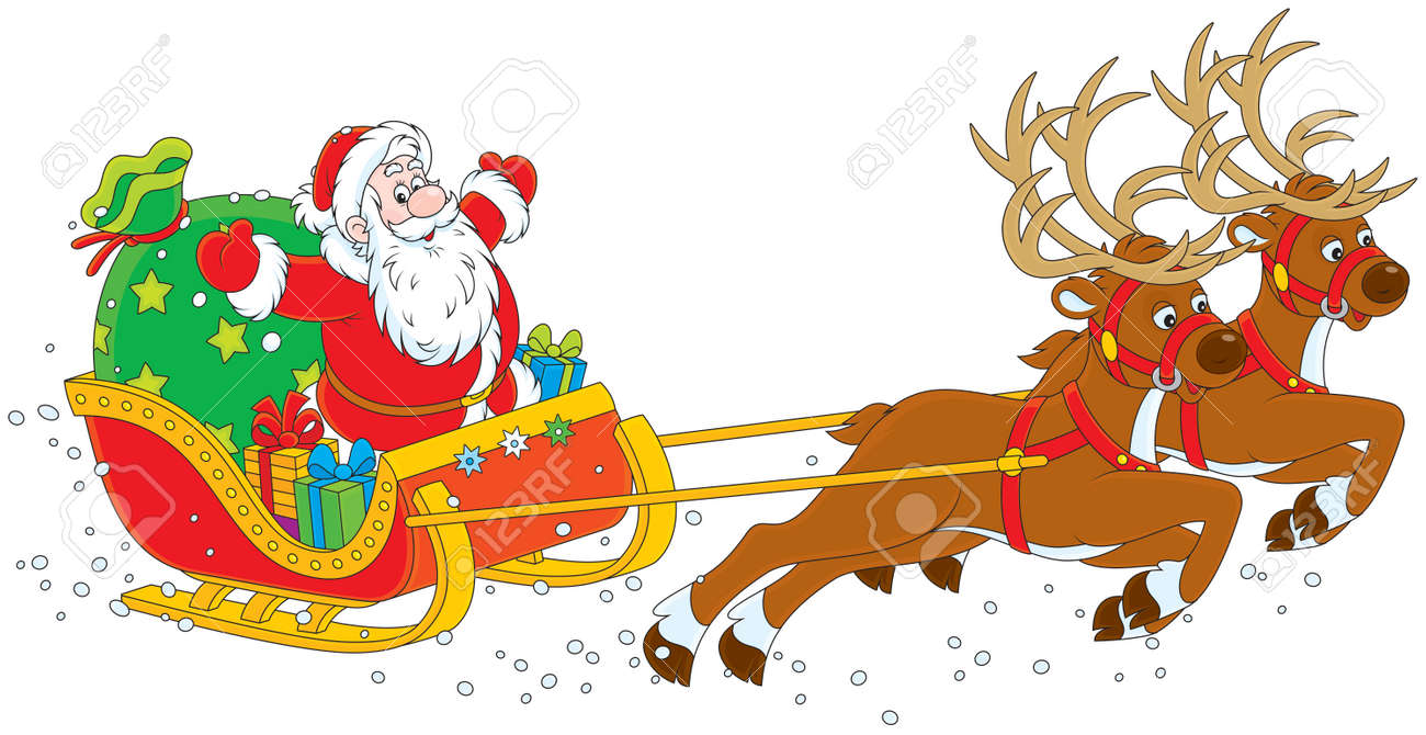 14 124 santa sleigh stock illustrations cliparts and royalty free rh 123rf com santa sleigh clipart santa sleigh clipart black and white