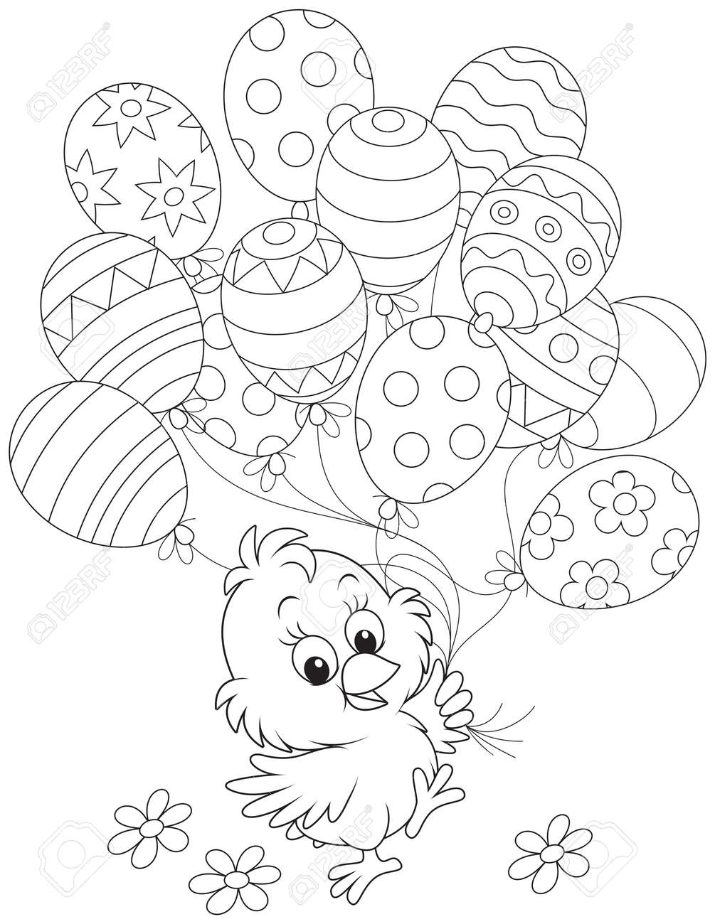 Easter Chick with balloons - 34757437