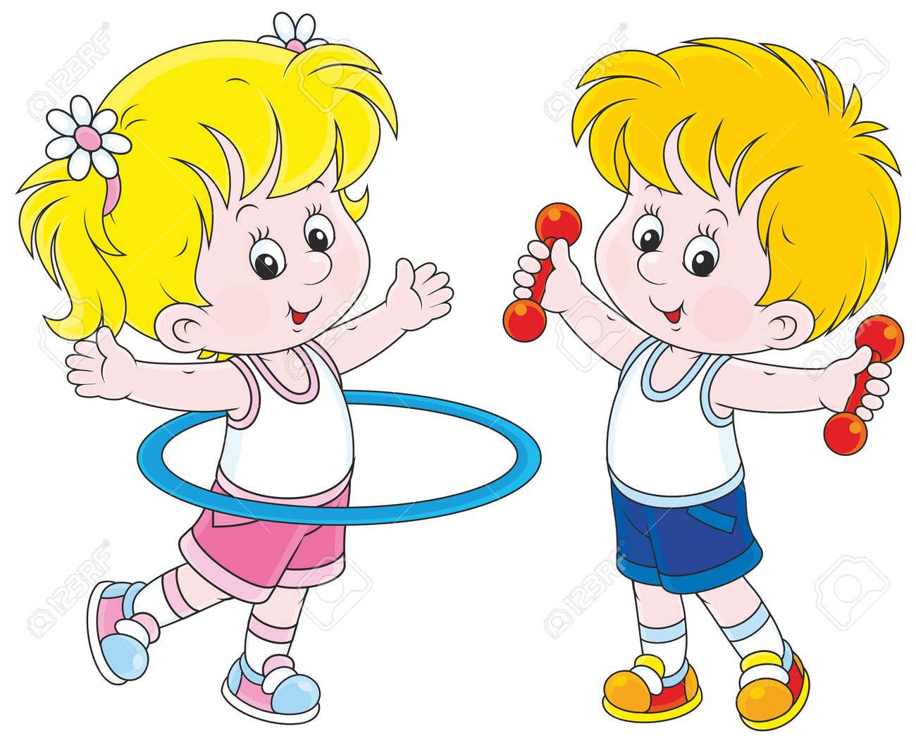 Los Niños Y Niñas Haciendo Ejercicios De Gimnasia Ilustraciones Vectoriales, Clip Art Vectorizado Libre De Derechos. Image 41629966.