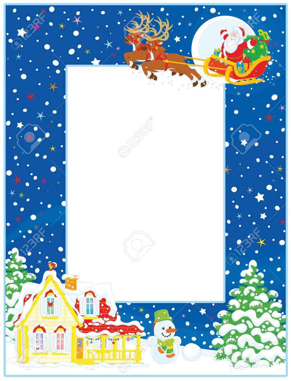 Vertical vector frame border of santa claus with his magic reindeers vector vertical vector frame border of santa claus with his magic reindeers and sleigh flying over a house and firs on a snowy christmas eve night m4hsunfo