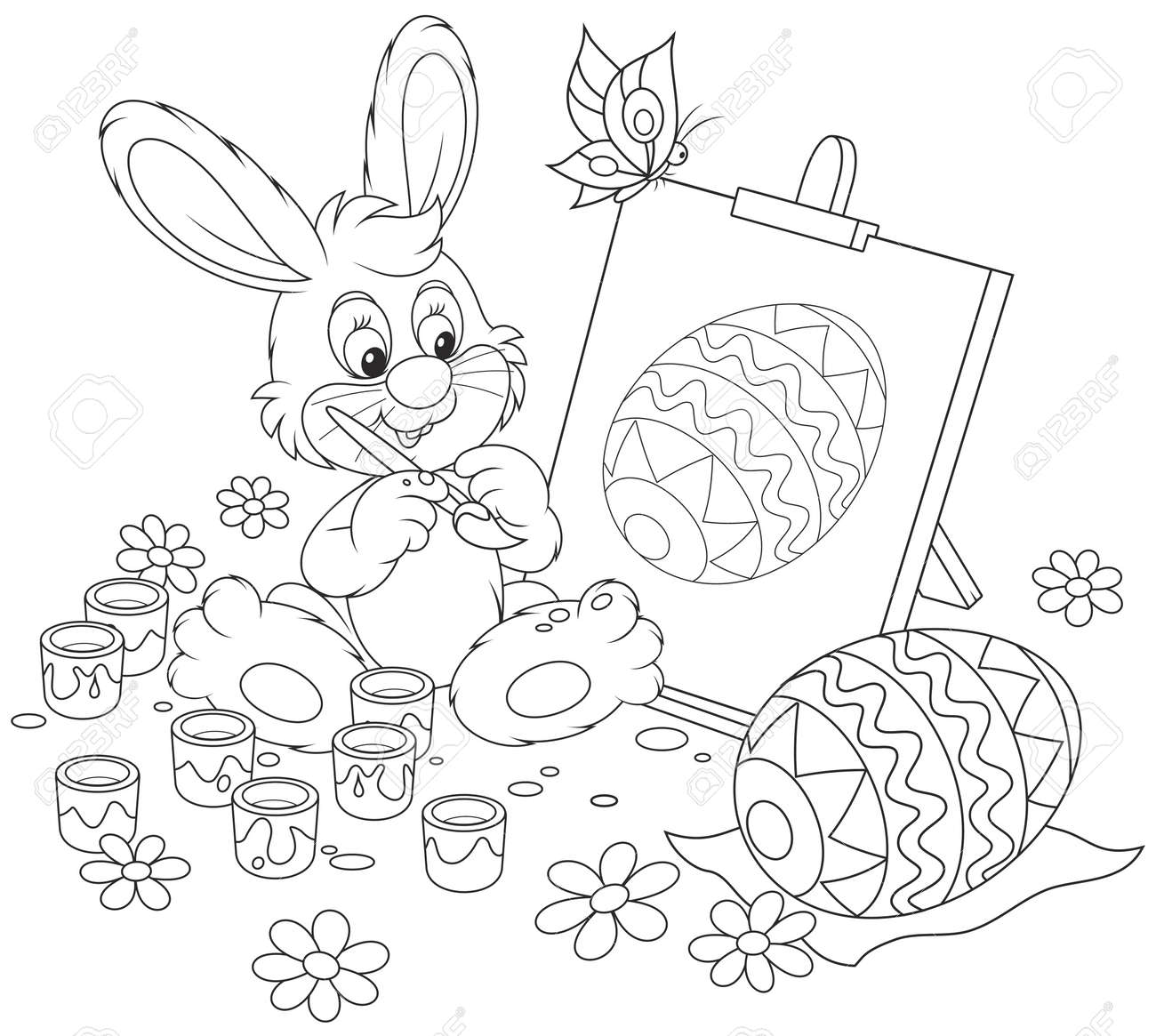 Happy Little Rabbit Drawing Easter Egg On An Easel, A Black And ...