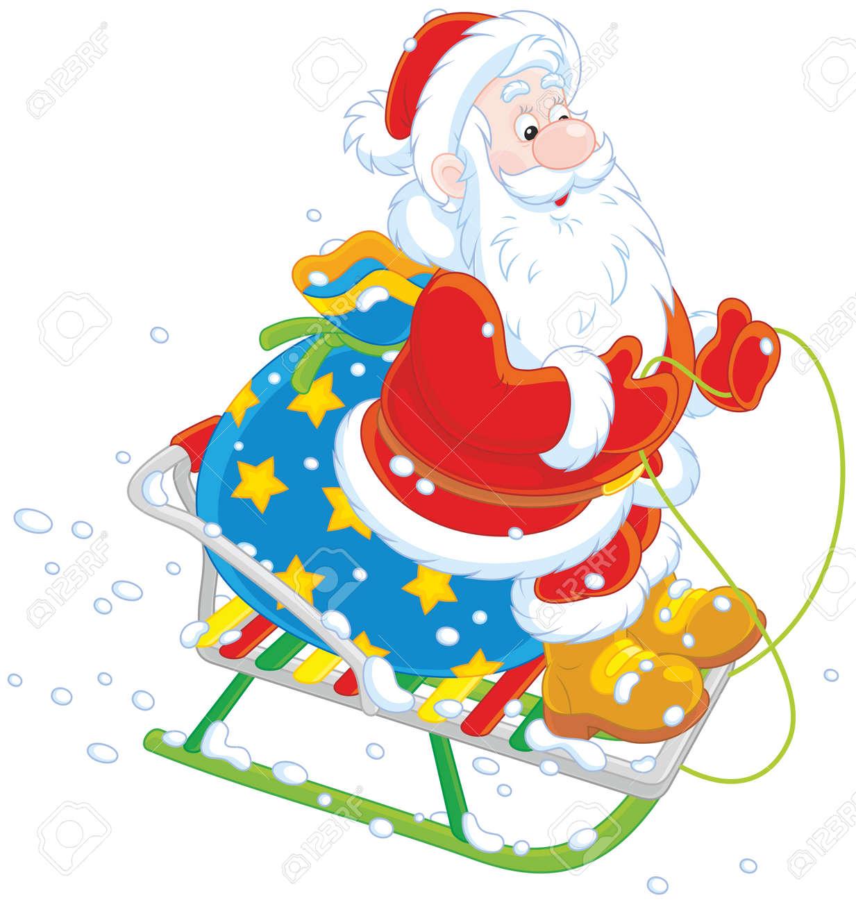 Immagini Babbo Natale Con Sacco.Babbo Natale Con Il Suo Sacco Di Regali Di Natale Slittino Giu Per La Collina Di Neve