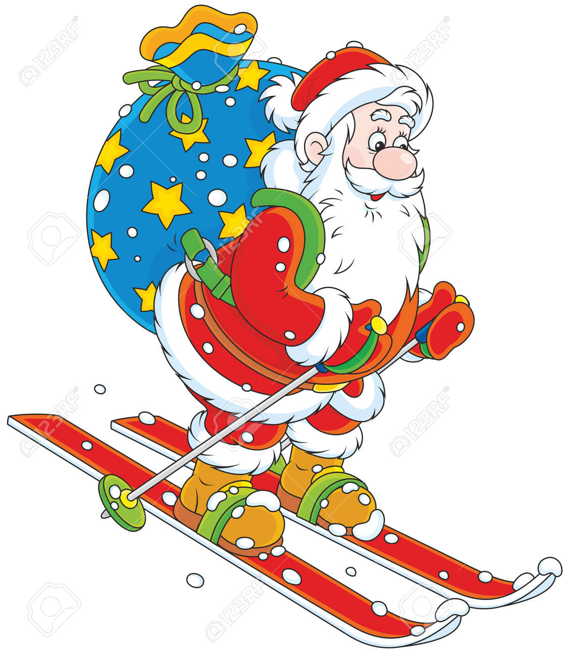 Image Pere Noel En Ski.Pere Noel Avec Des Cadeaux De Ski