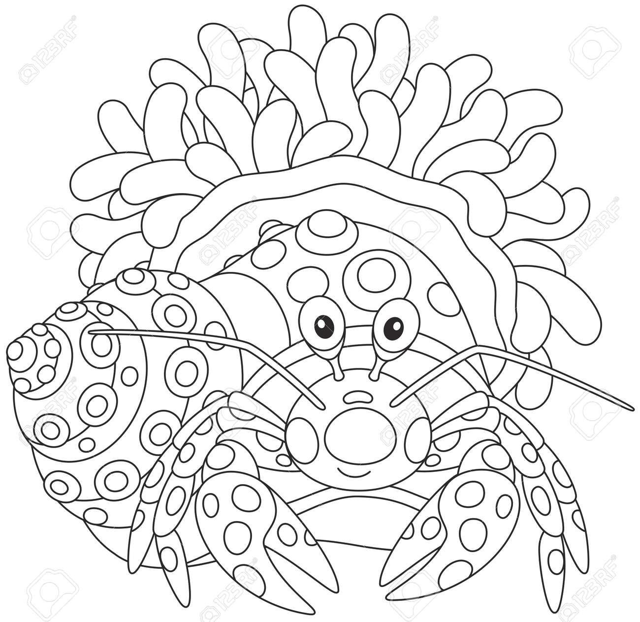 Vettoriale Piccolo Granchio Nella Sua Avrà Con Un Fiore Di Anemone