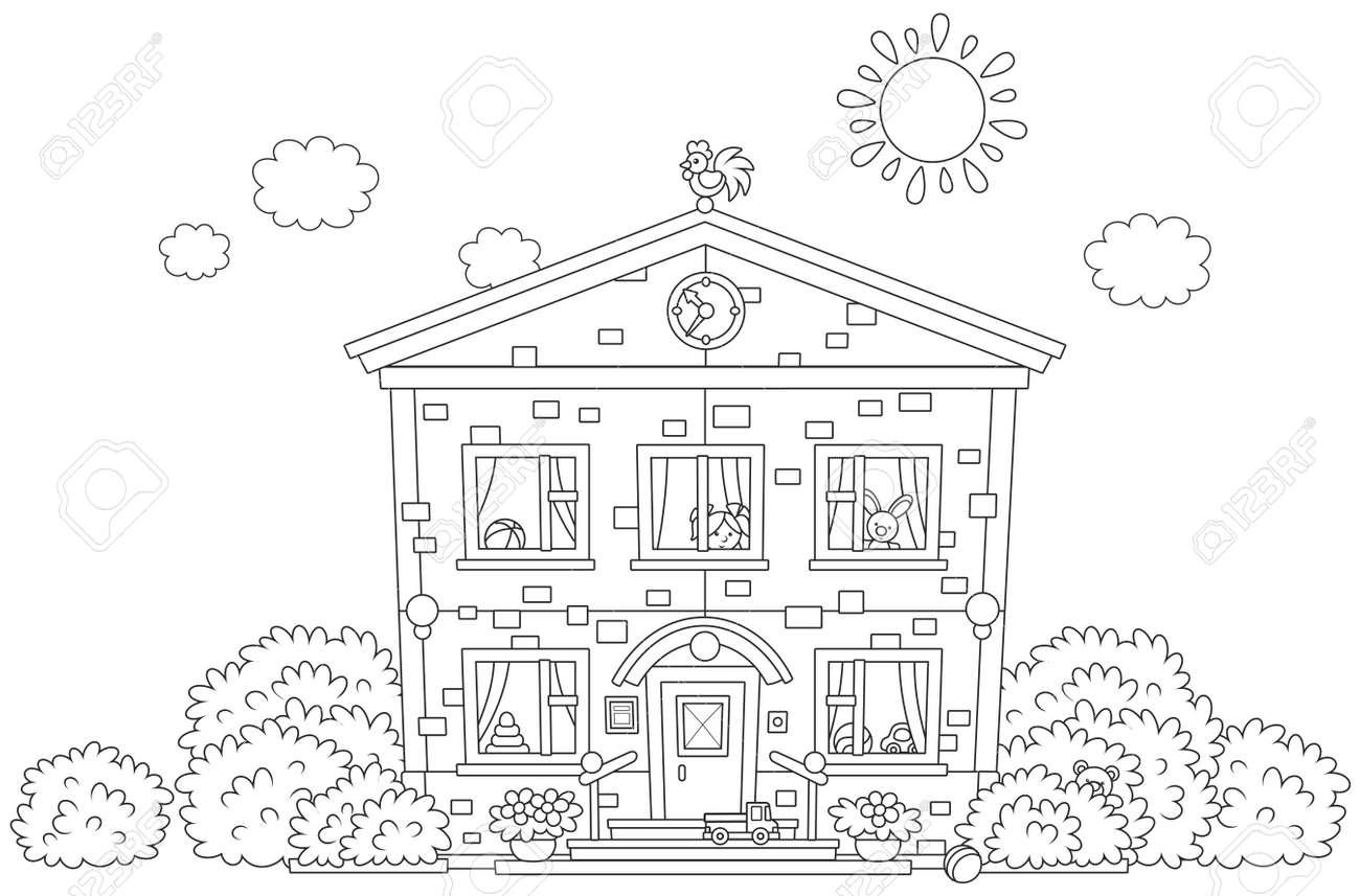 Un Libro Para Colorear De Jardín De Infantes Sobre Un Fondo Blanco