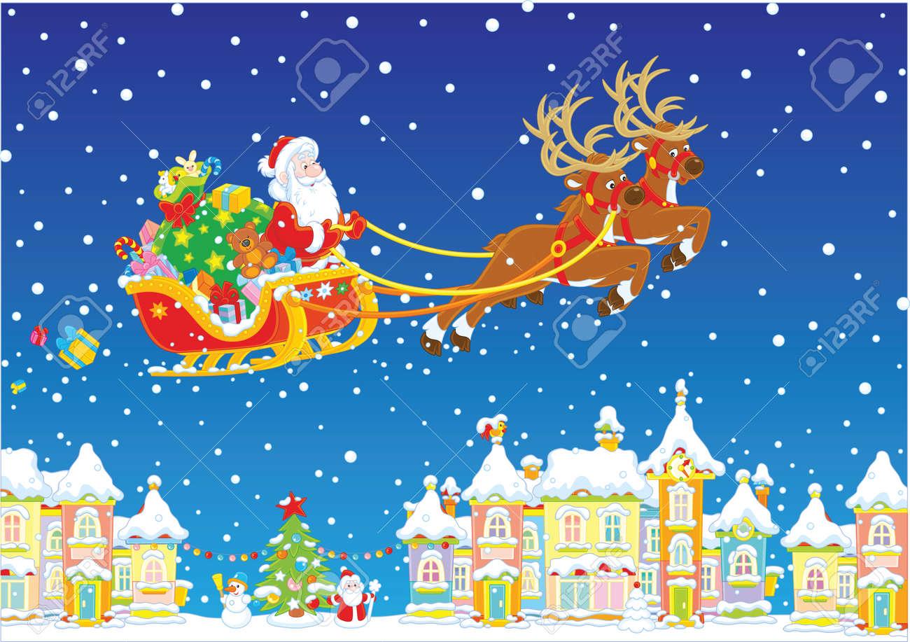 Babbo Natale Con Le Renne Immagini.Renna Magica Che Vola Babbo Natale Con I Regali Di Natale Sopra Una Citta Innevata Alla Vigilia Di Natale