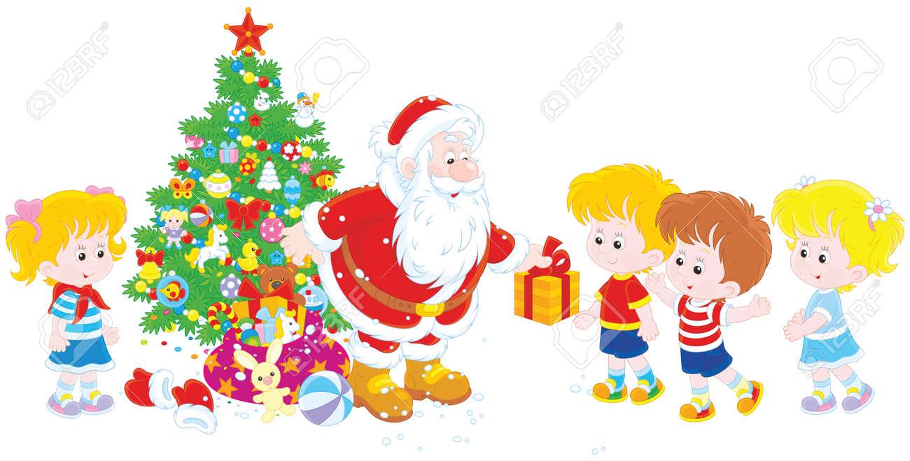 Regalos Para Ninos Pequenos.Santa Claus Dando Regalos De Navidad A Los Ninos Pequenos