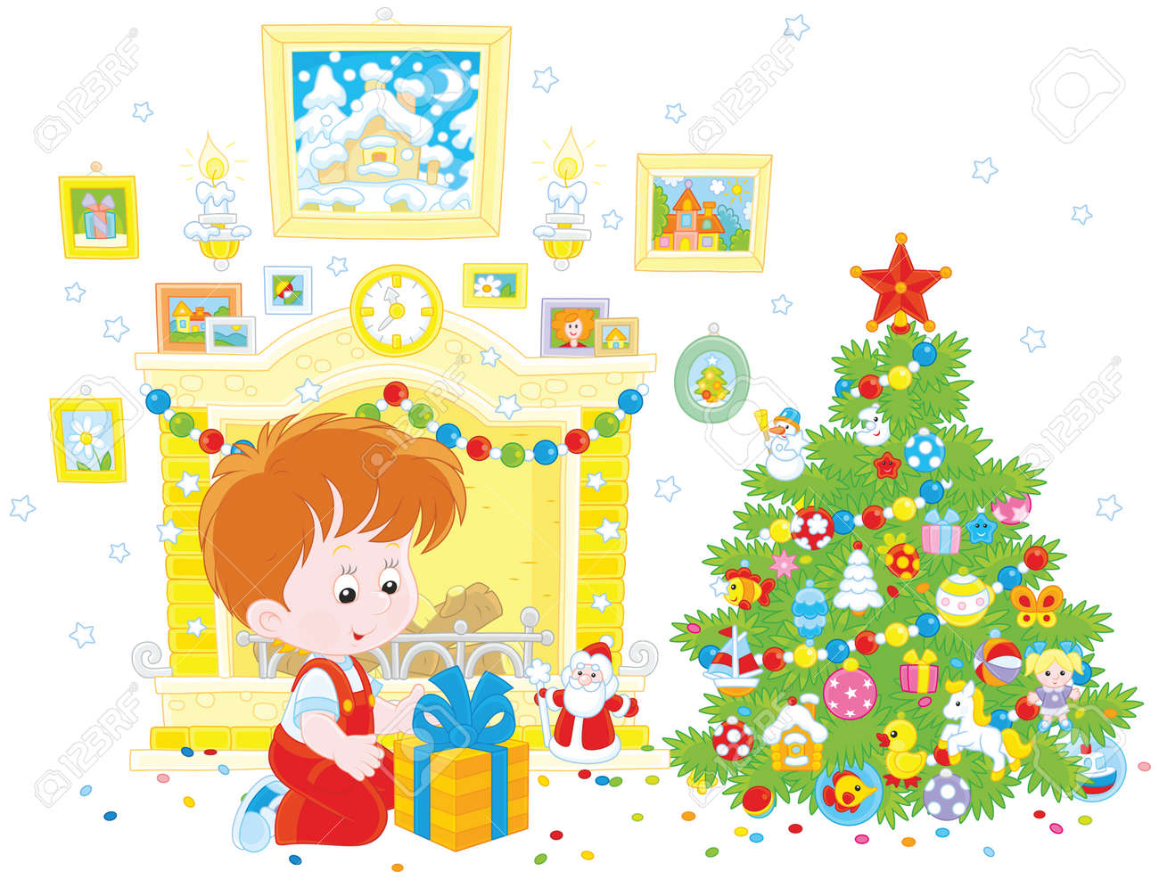 Little Boy With His Birthday Gift Christmas Tree Stock Vector