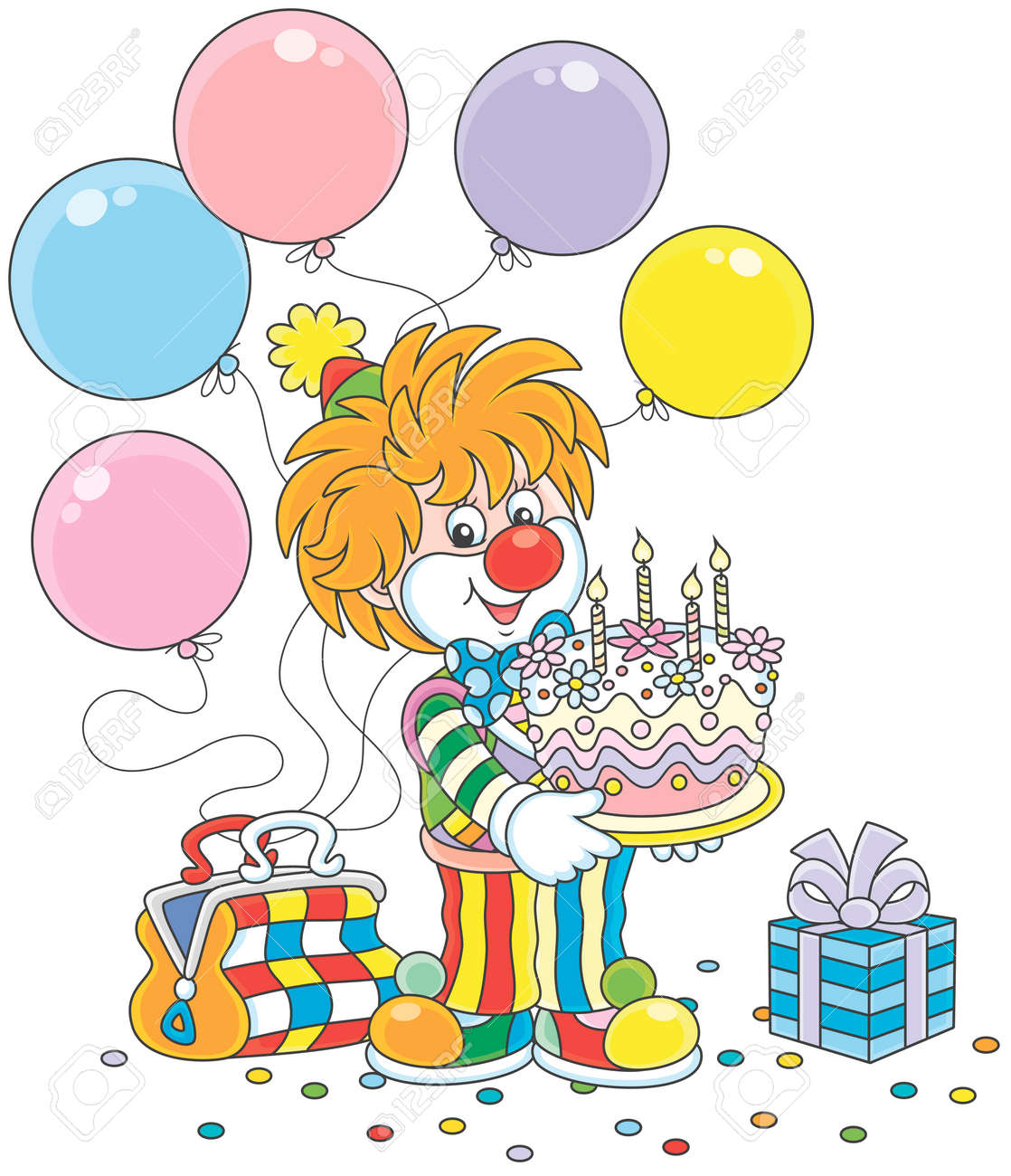 Circus Clown With A Birthday Cake Balloons And A Gift Royalty Free