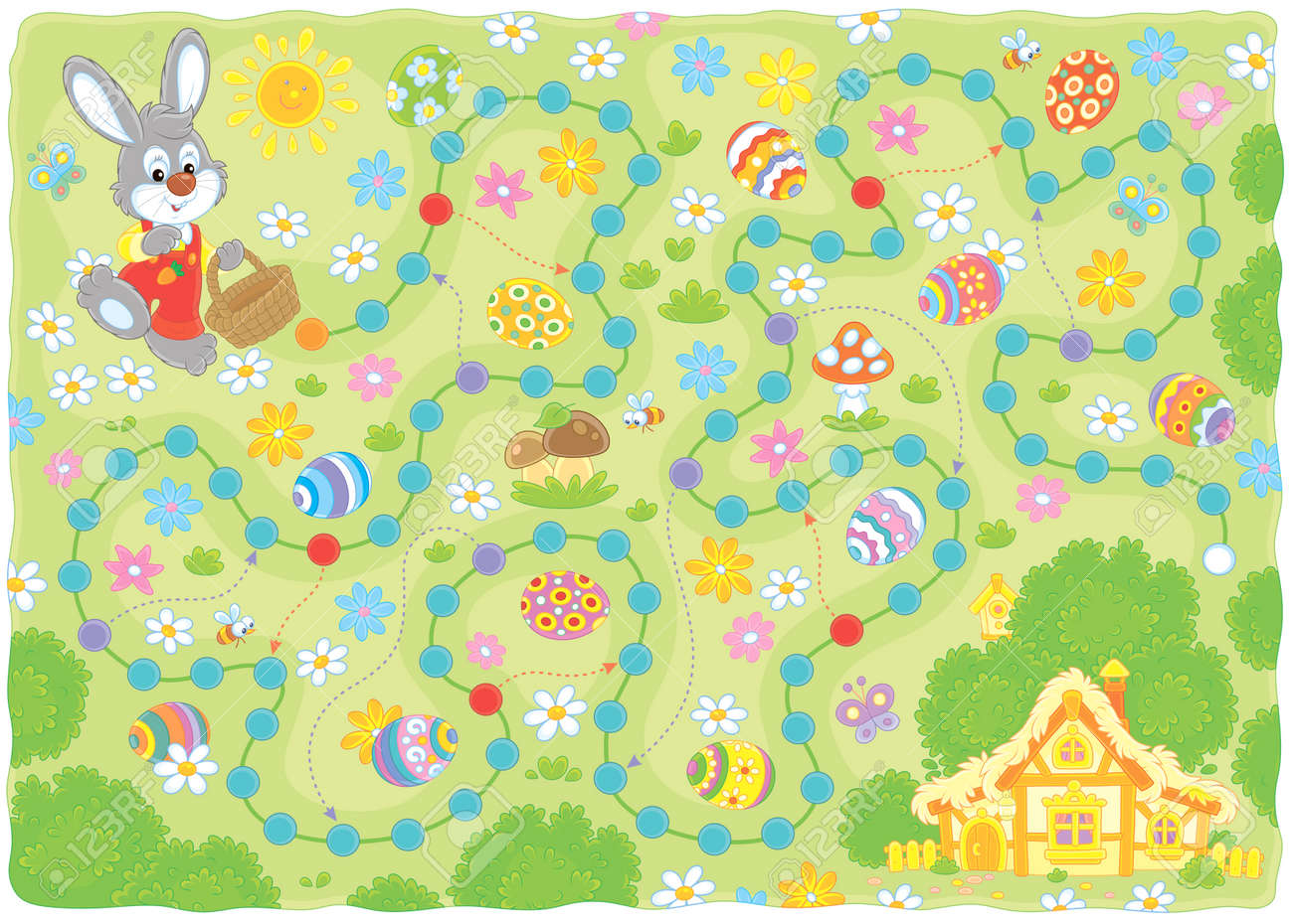 photograph about Board Game Printable named Easter egg hunt printable board recreation. Small Bunny with a little..