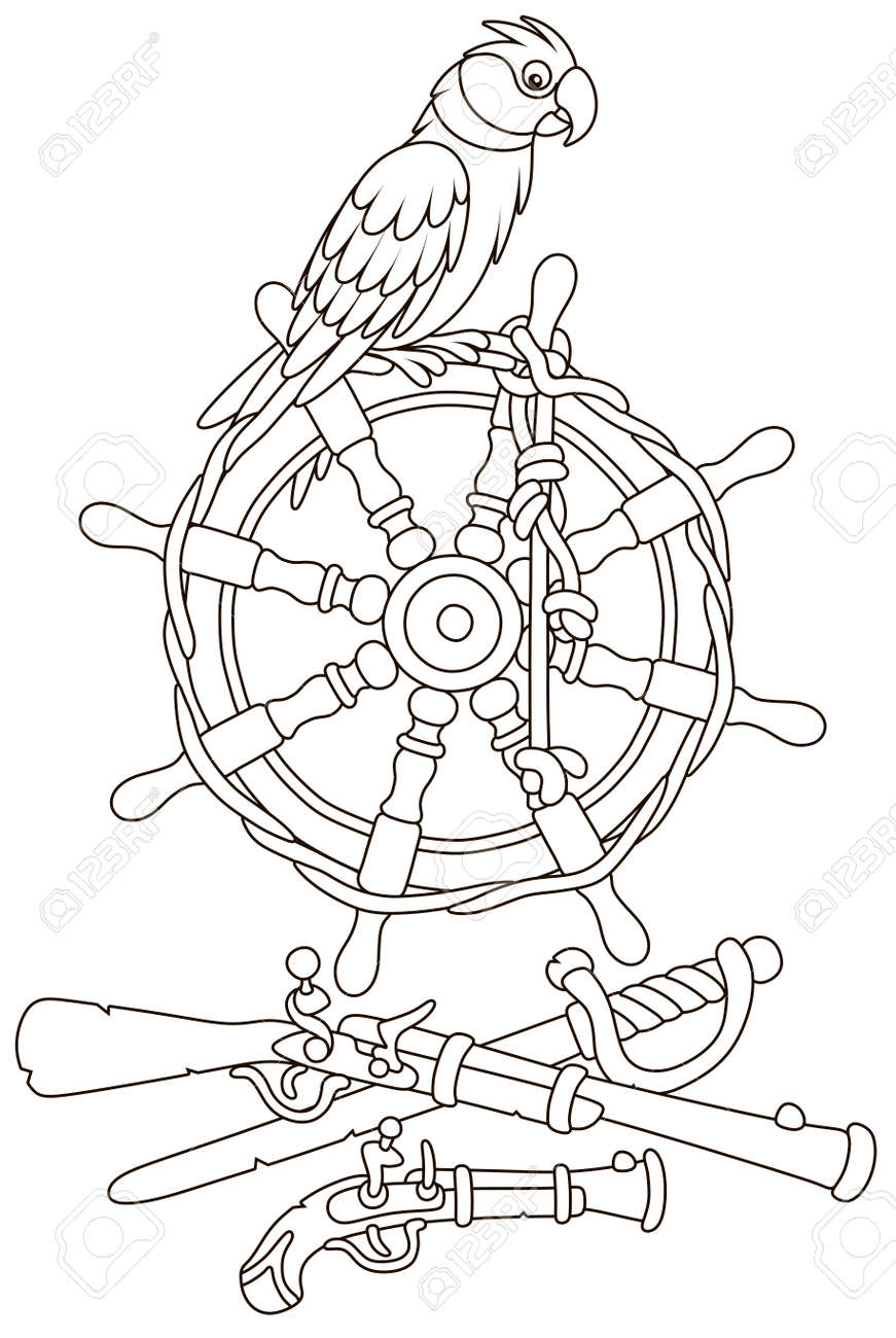 Pirate Parrot On An Old Ship Steering Wheel A Gun A Pistol Royalty Free Cliparts Vectors And Stock Illustration Image 119245885