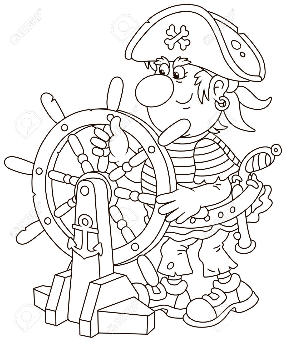 Funny sea pirate in a cocked hat holding a wooden helm and steering