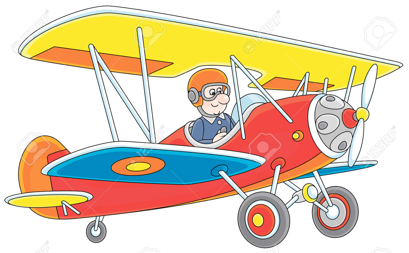 Toy Airplane Piloting By A Funny Cartoon Aviator Vector