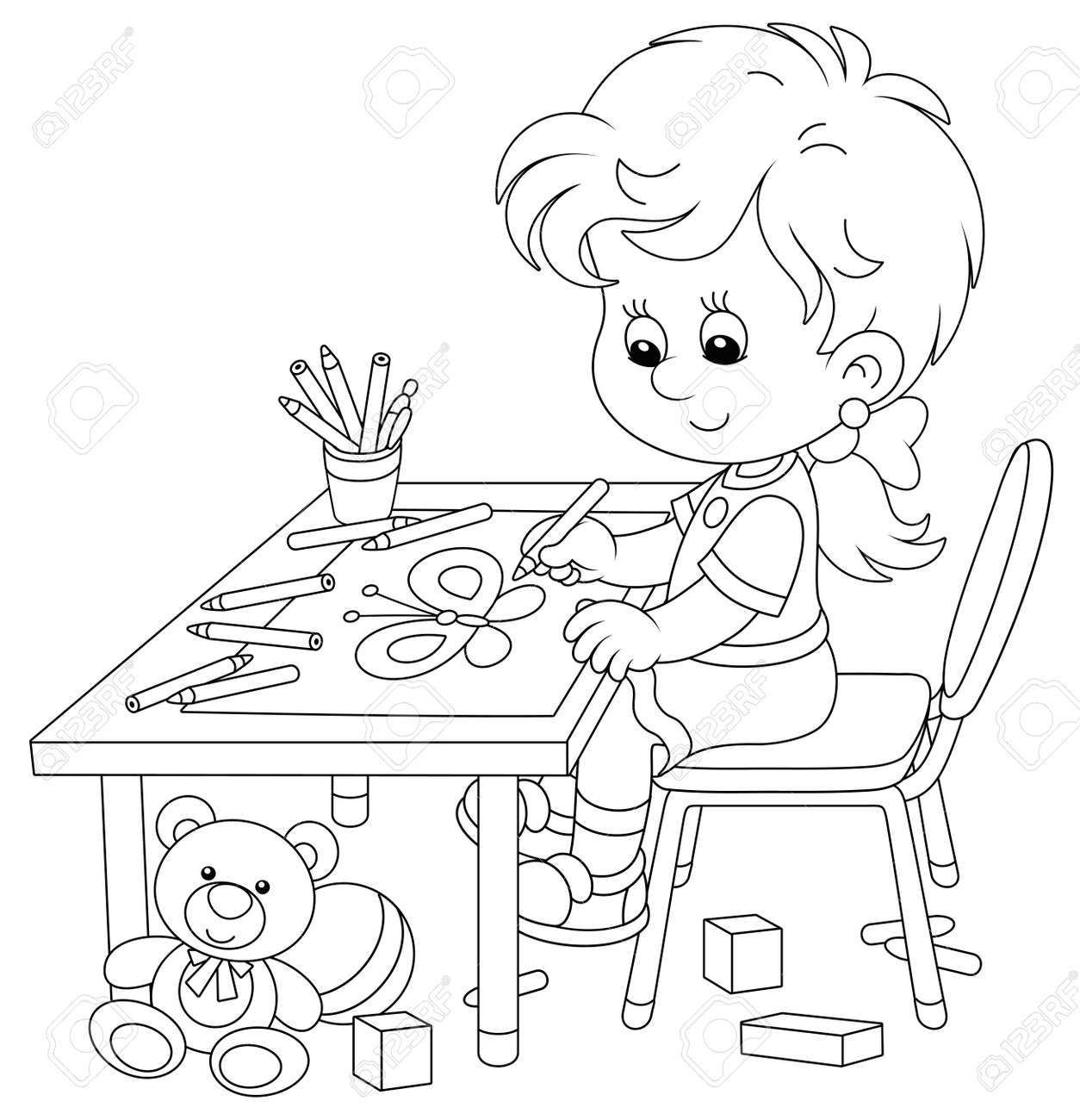 Smiling little girl sitting at her table and drawing with pencils a funny picture of a small beautiful butterfly, black and white outline vector cartoon illustration for a coloring book page - 145315166